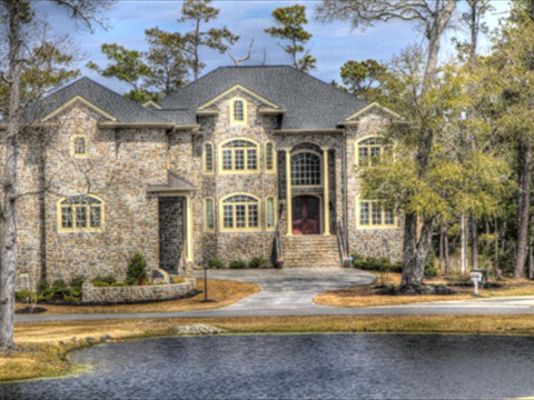 Custom Home with water and Golf Course Views
